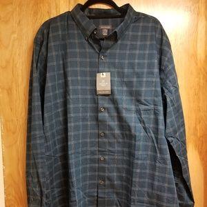 Van Heusen Men's Blue Plaid Button Up Dress Shirt